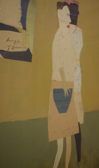 7. Two Figures Walking, 2014, oil and collage on wood, 61cm x 51cm - £2,500