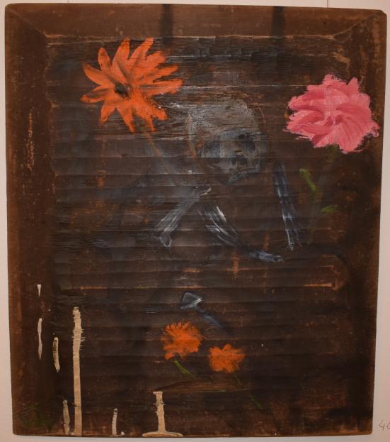 40. Flowers on Golgotha, 2000, oil on wood - £3,500