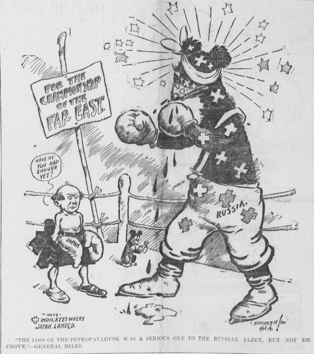 A 1904 cartoon of the Russo-Japanese war, by American cartoonist Bob Satterfield