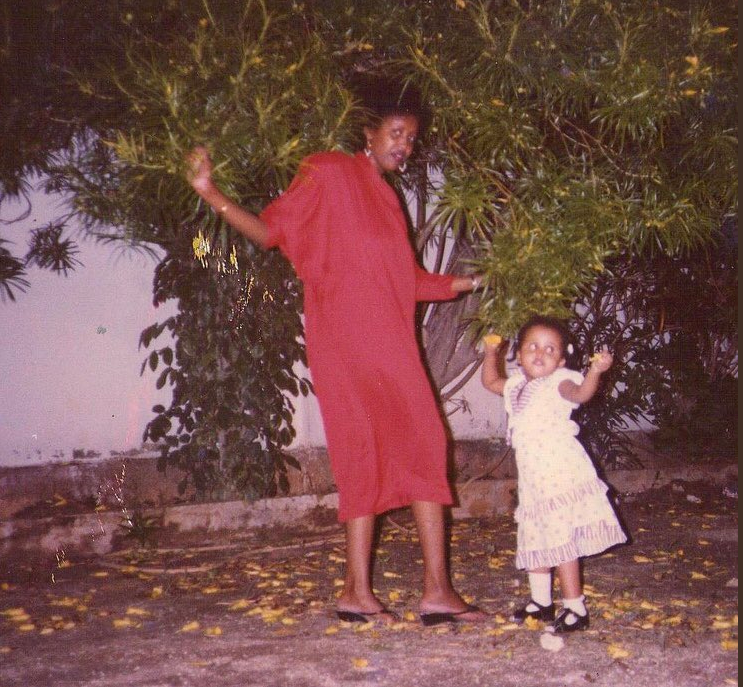Hanna Ali with her mother in Somalia.