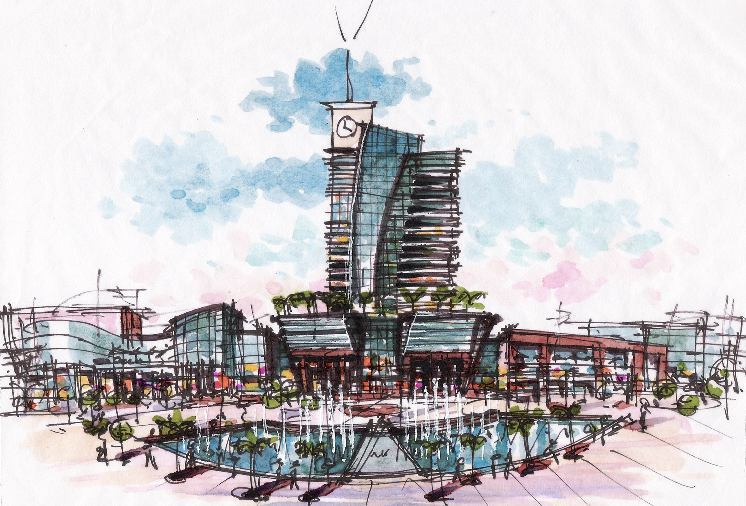 LAGOS MEDIA CITY TOWER MALL FOUNTAIN PLAZA COLOR SKETCH CROP2