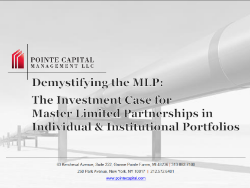 Demystifying the MLP: The Investment Case for Master Limited Partnerships in Individual and Institutional Portfolios