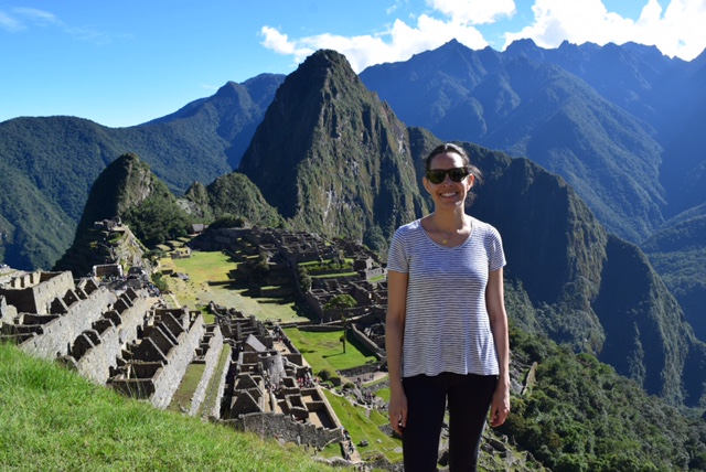 Monique, our Director of Travel, hiking up Machu Picchu!