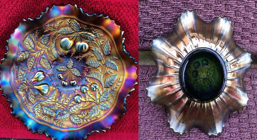 Looking at the front of this Carnival bowl, you would think it was purple in color, but when you turn it over and look at the marie, you can clearly see it's green.  Remember that with Carnival glass, color is always determined by the base glass color, not the iridescent coating.