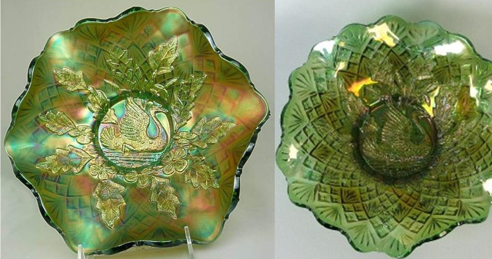 The bowl on the left has a lovely green iridescence, the bowl on the right has a radium iridescence.