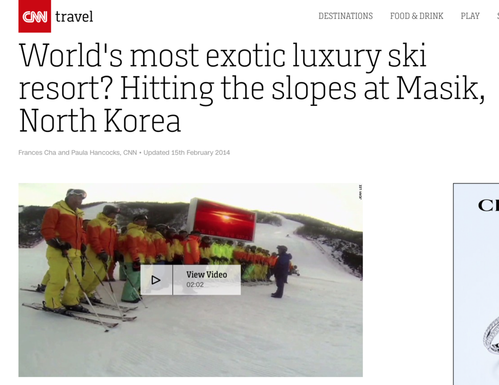 Video footage by Jean H. Lee shot at Masikryong ski resort in January 2014.
