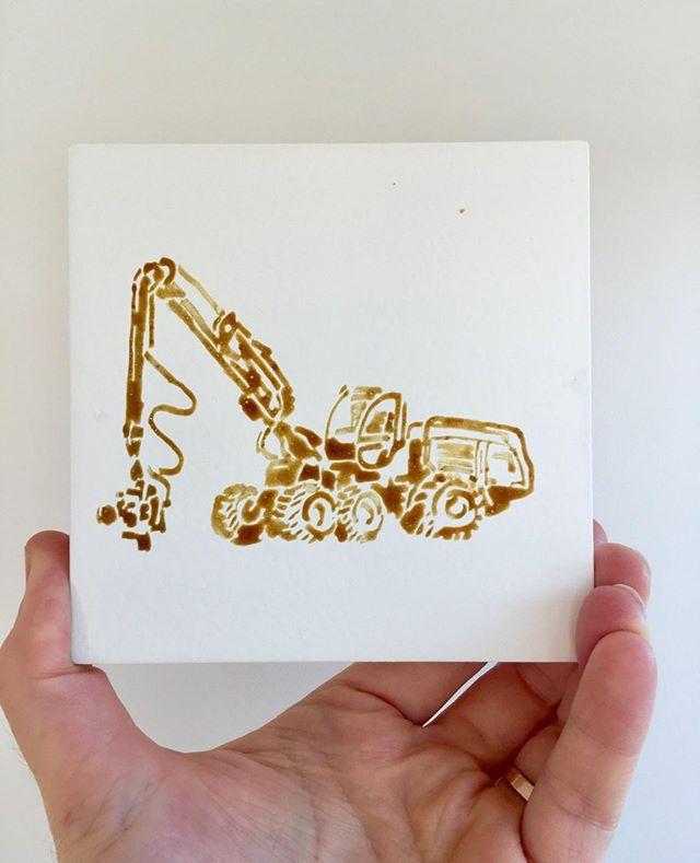 Wheeled Harvester 1270c - 2019  Pollen on Board 125 x 125mm   #freddieyauner #JohnDeere  #forestery #deforestation #Innovation #humanprogress  #weareanthropocene #industrialagriculture   #pollenpigment #pollen #pollenpaint #delicate #unpredictable #colour 