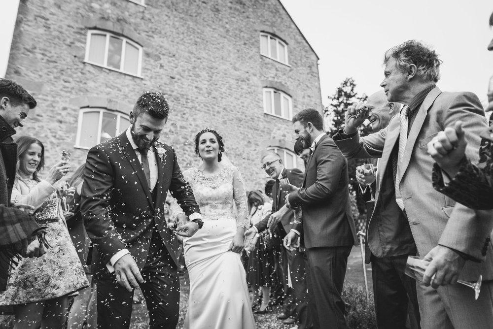 Wedding confetti at Priston Mill near Bath