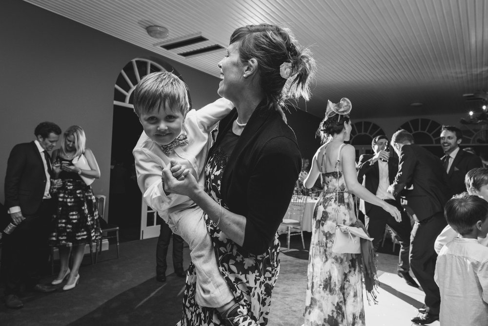 Mum and son dancing