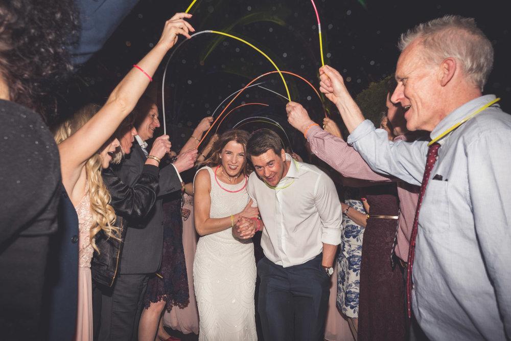 Glow sticks at wedding