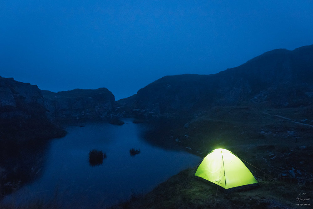 Glowing tent at Foggintor Quarry