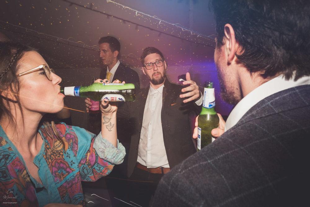 Drinking on dancefloor