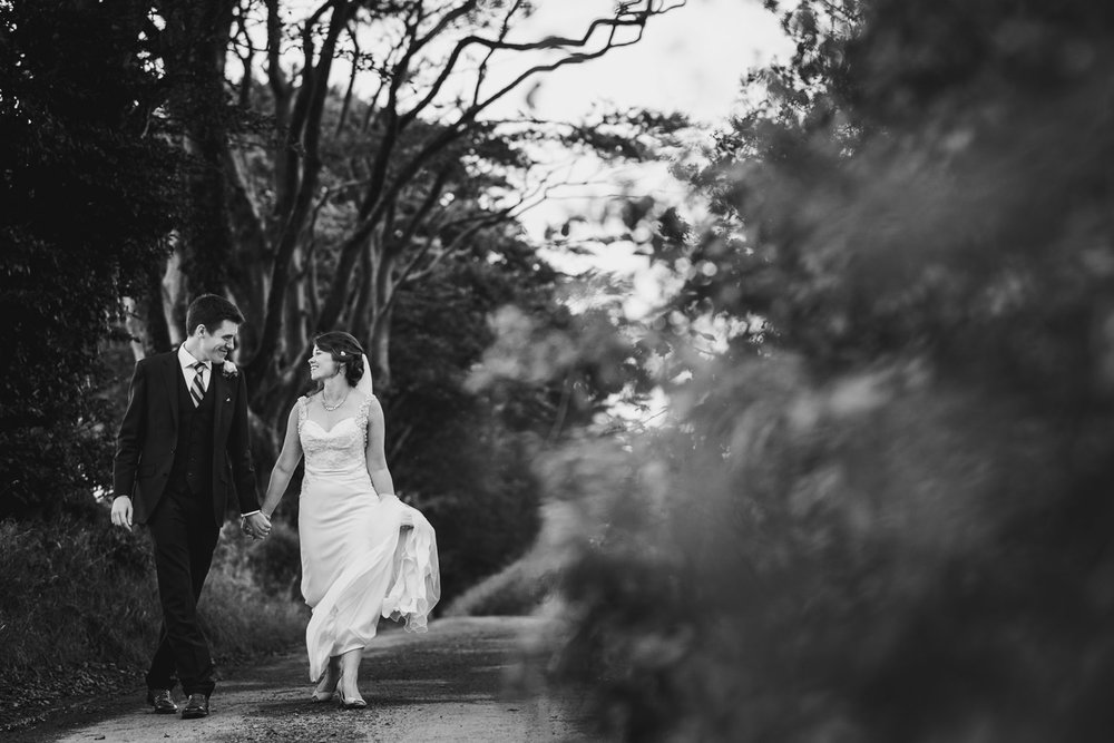 Candid wedding portrait in Devon countryside