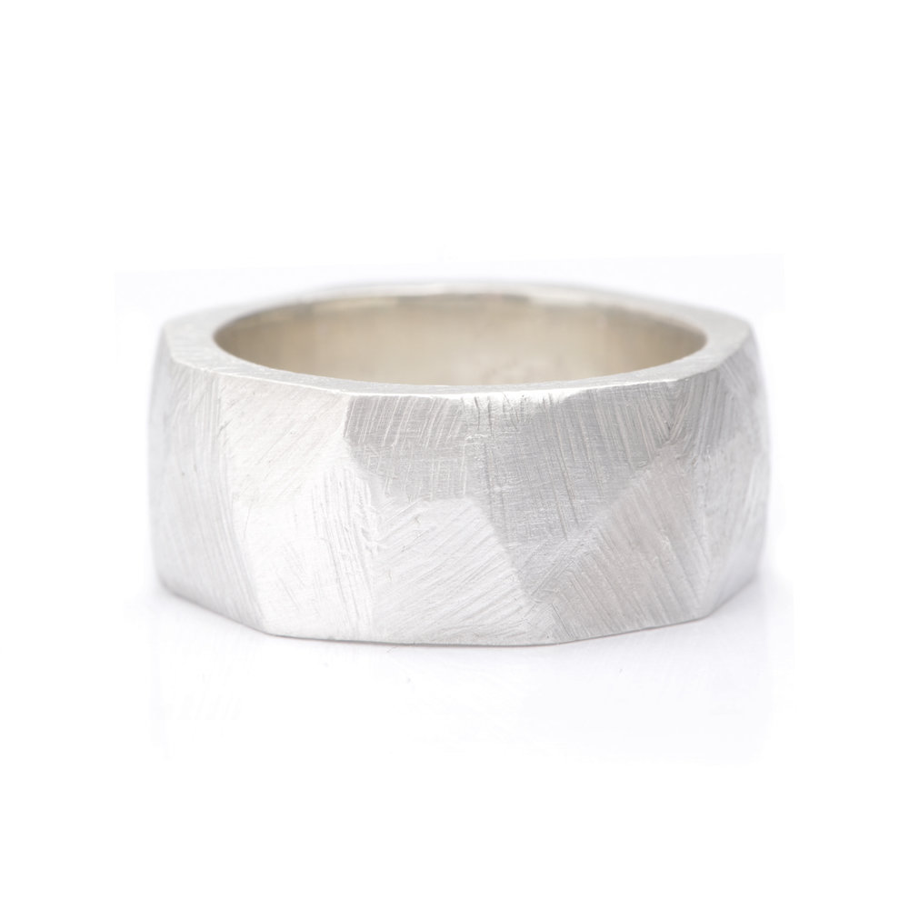 BESPOKE CHUNKY CARVED GOLD MENS WEDDING RING