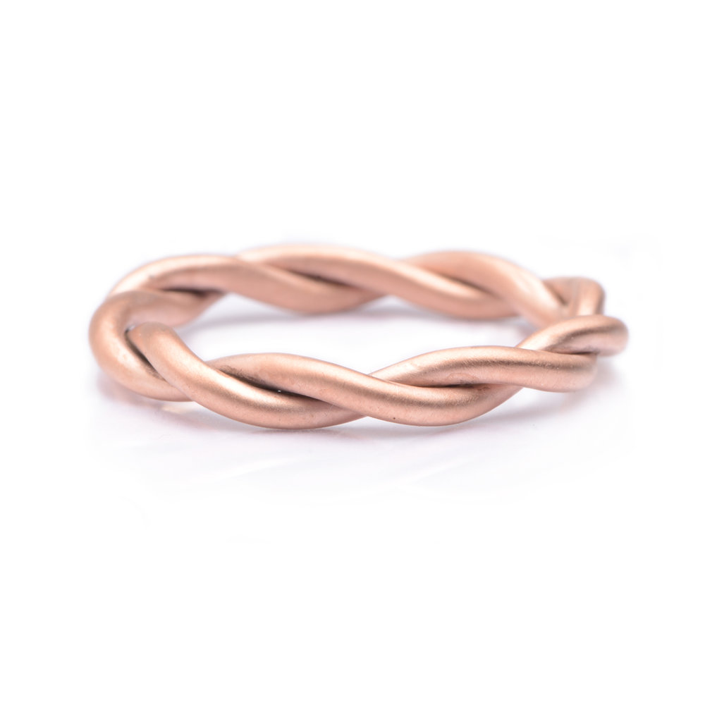 UNIQUE HANDMADE  ROSE GOLD TWISTED WEDDING RING