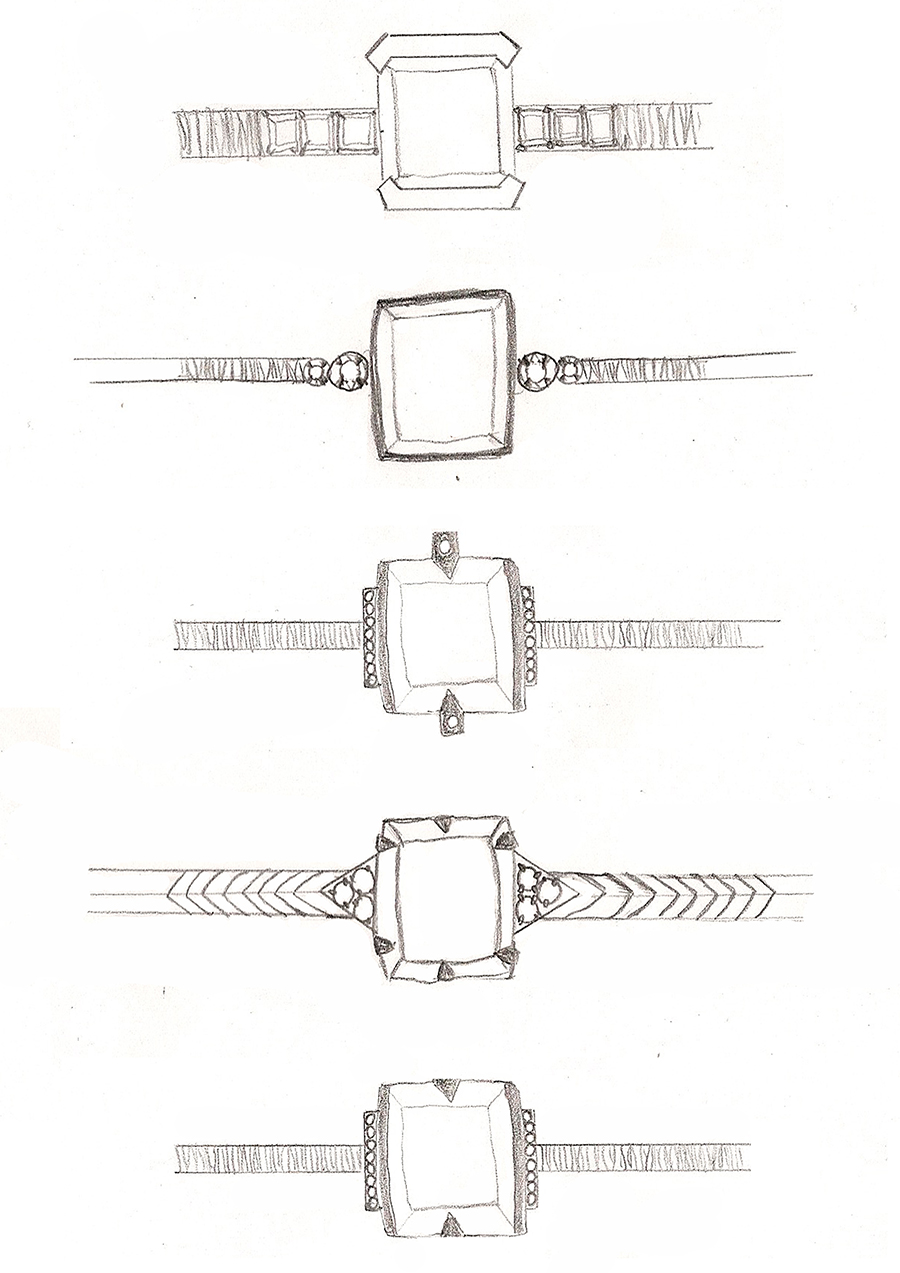 Bespoke Jewellery Design Engagement Ring Sketches