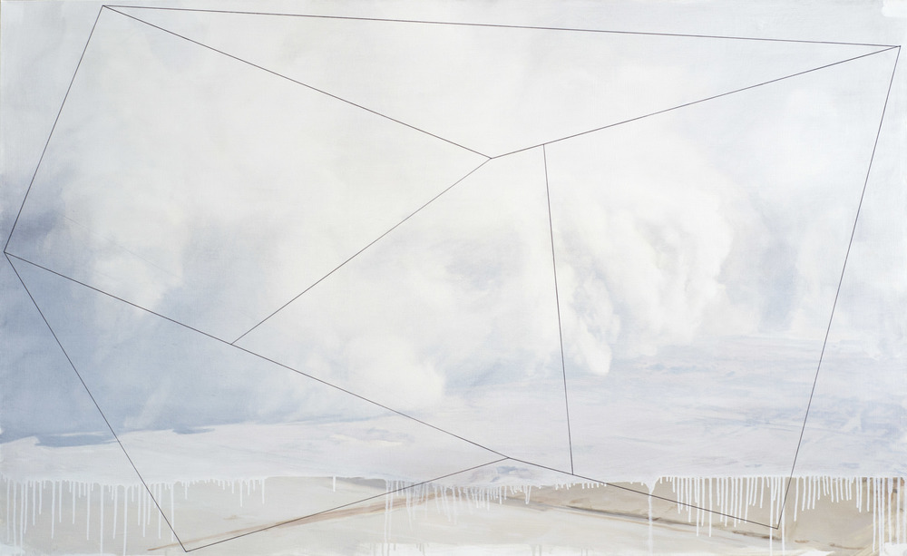 "Whiteout (Wall of Dust), Oil and India ink on linen, 65x40"", 2013"