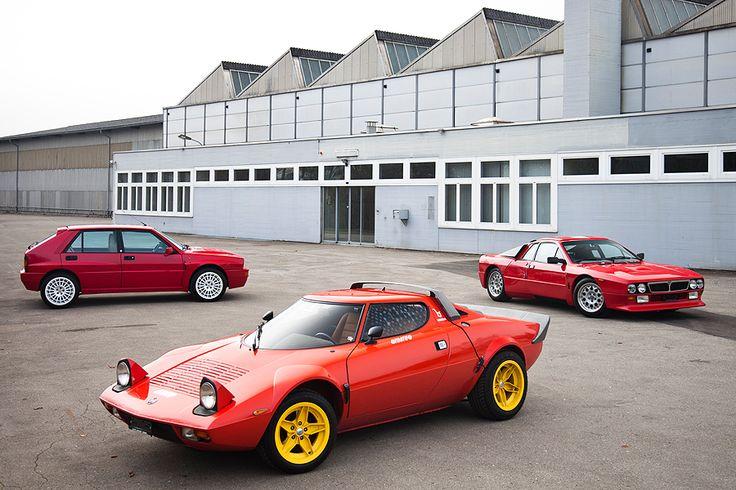 Three generations of street versionLancia rally cars
