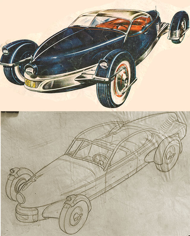 One of the found sketches below, with the Carioca cover from CAR LIFE above it for comparison.
