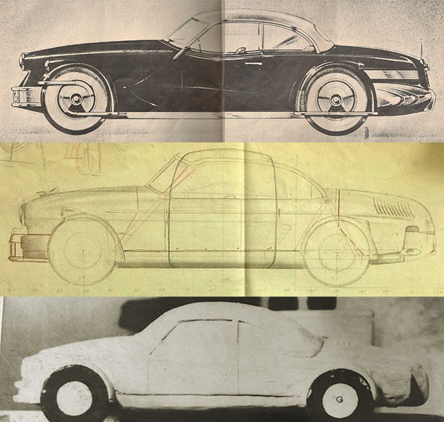The top sketch is of the Carioca. The middle and lower images of a sketch and clay model are unknown. Are they of a Tucker or Studebaker?
