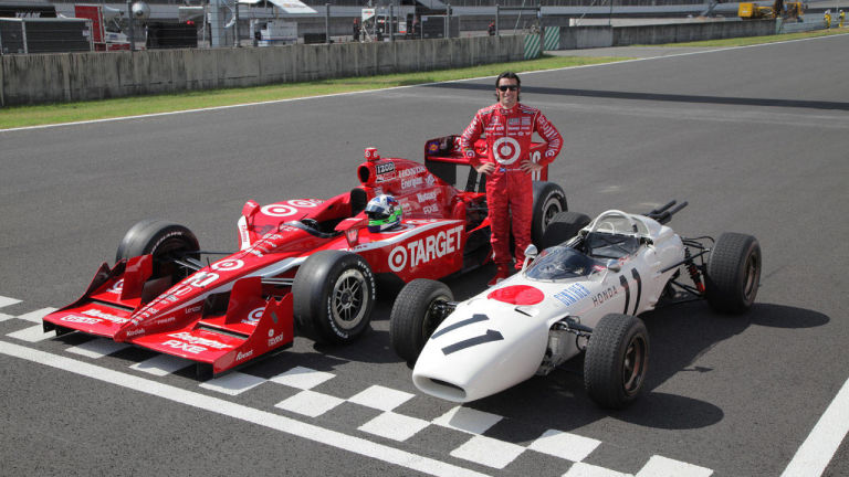 The RA272 next to Dario Franchitti's Champ Car for scale