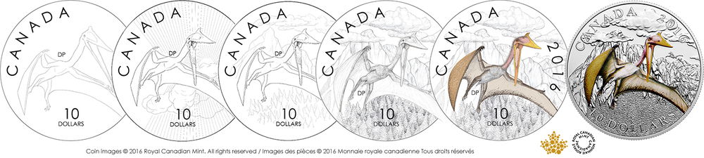 1/2 oz. Fine Silver Coloured Coin – Day of the Dinosaurs: Terror of the Sky (  Quetzalcoatlus)