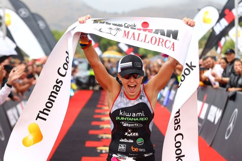 Jocelyn winning Ironman Mallorca 2016 with the course record