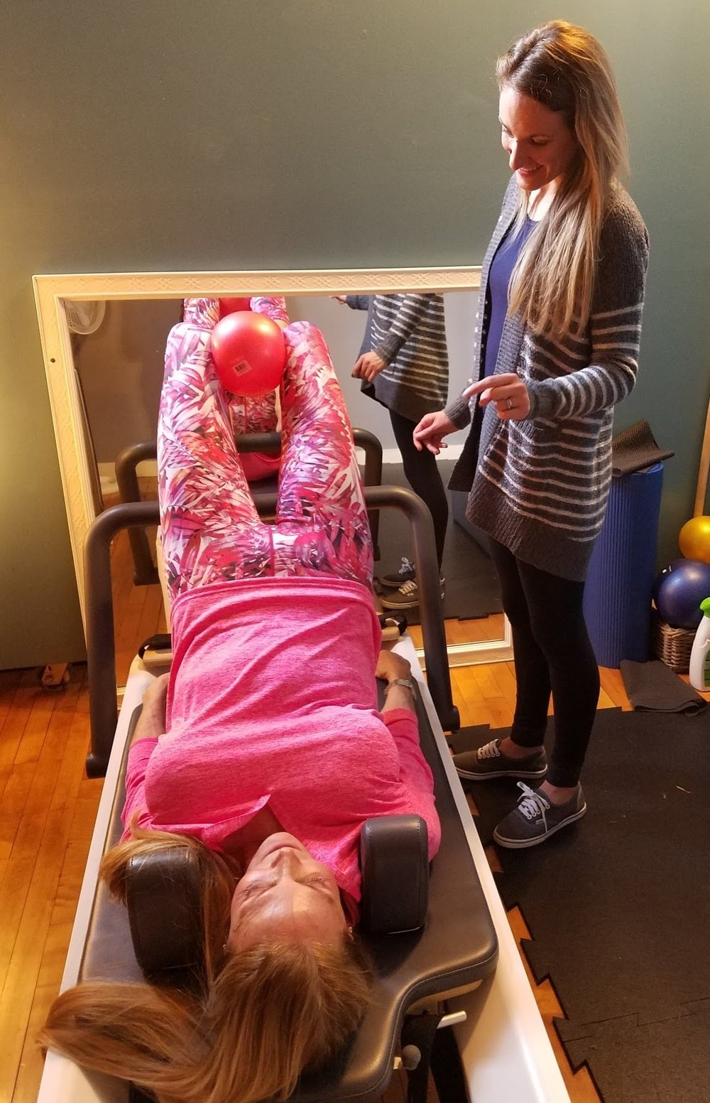 Danielle working with Pilates Trainer Sarah T.