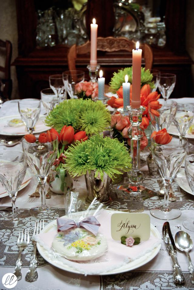 Calligraphy, Victoria Hoke Lane, spider mums, tulips, green, orange, pink, luncheon, tablescape, candles
