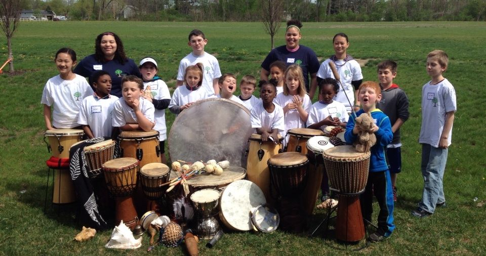 The Camp Phoenix Drum Gang...  All the children seen here - ages 6 to 16 - recently experienced the loss of a parent or grandparent.  Drums heal the Heart!  Drums create Community!  Drums soothe the Soul!