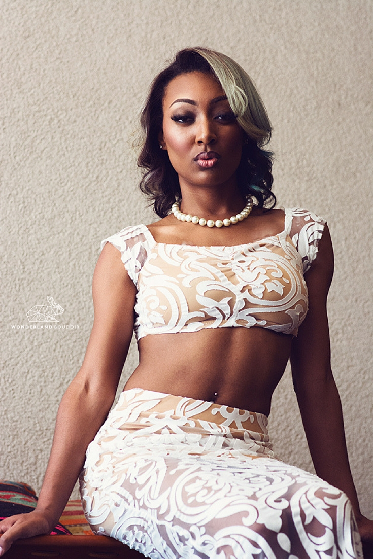 Wonderland Boudoir, Dallas Boudoir Photography, White Lace Crop Top Dress