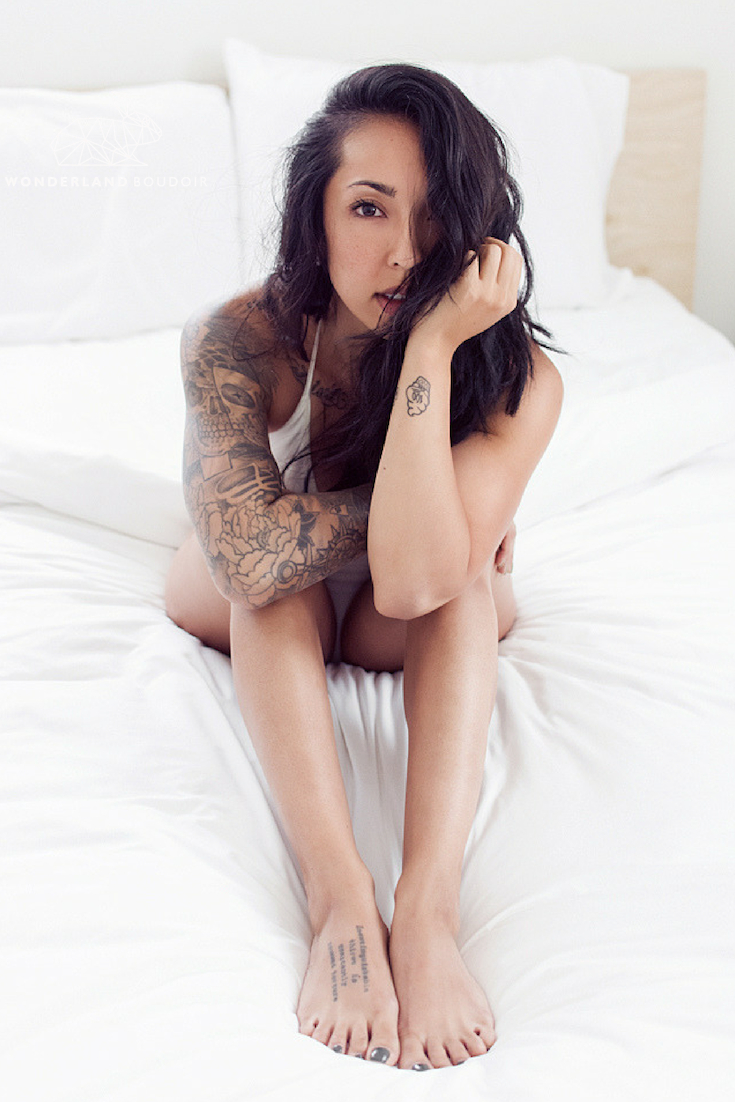 Los Angeles Boudoir Photography, Wonderland Boudoir, White Industrial Loft, Wood Floors, White Sheets, Natural Light, Tattoo Boudoir Session, Inked Girls