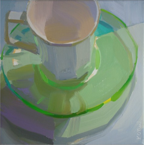 green cup still life Karen O'Neil