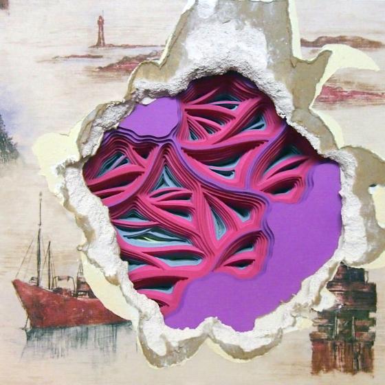 Wallpaper layered paper art