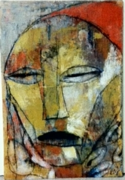 African Mask with Red Cap [SOLD]