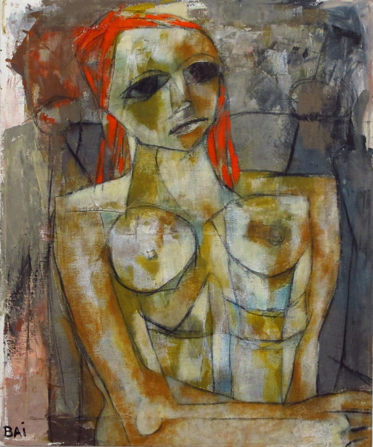 Red Hair Nude in Gray Chair [SOLD]