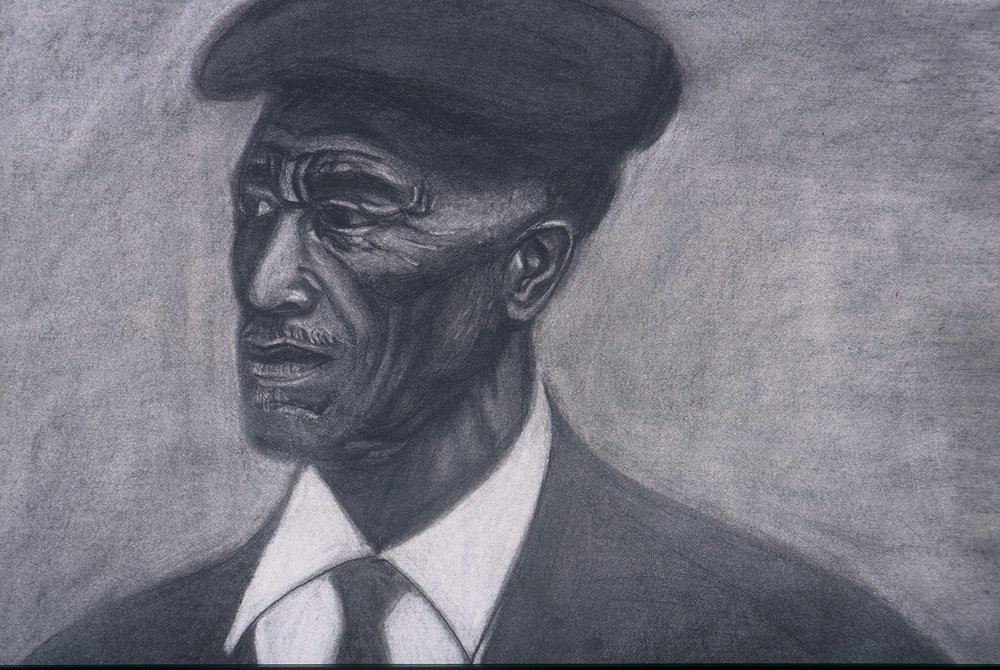 "Bushra Junaid, ""Mr. Jones"", Charcoal on Paper"