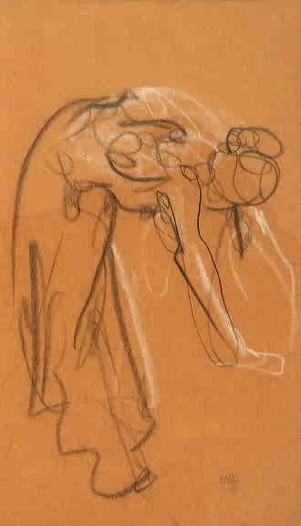 "Mary Adams, ""Bending Figure"", Conte Crayon on Paper"