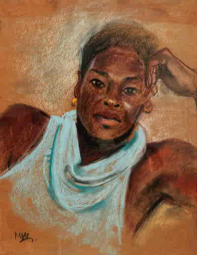 "Mary Adams, ""Portrait Study"", Pastel on Paper"