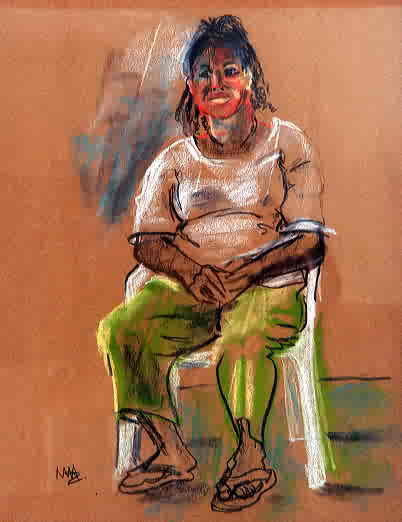 "Mary Adams, ""Seated Figure"", Pastel on Paper"