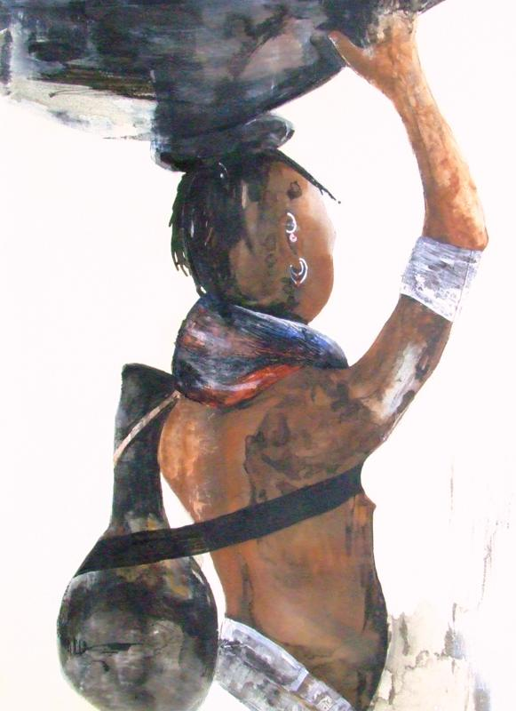 "Opal Dunbar Adams, ""Bantu"", Mixed Media on Canvas"