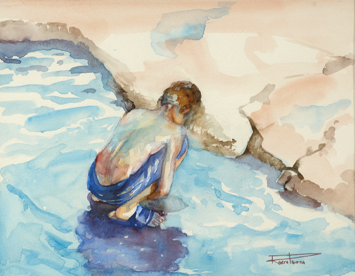 "Rosslyn Berot-Burns, ""Fishing"", Watercolour on Paper"