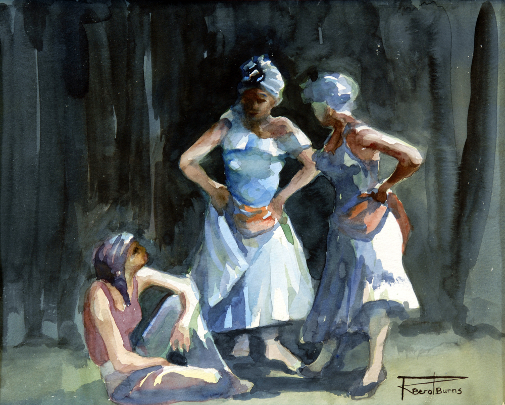 "Rosslyn Berot-Burns, ""Rehearsal"", Watercolour on Paper"