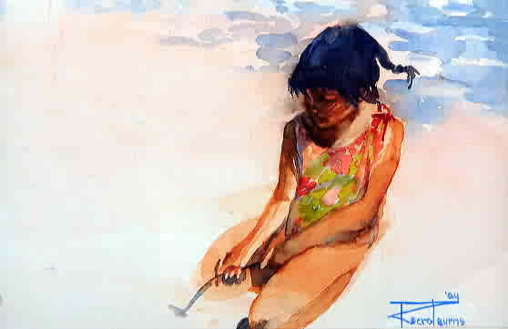 "Rosslyn Berot-Burns, ""Sand"", Watercolour on Paper"
