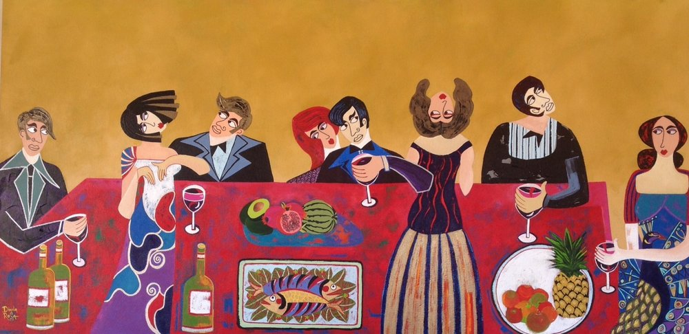 "SOLD Red Table 24"" x 48"""