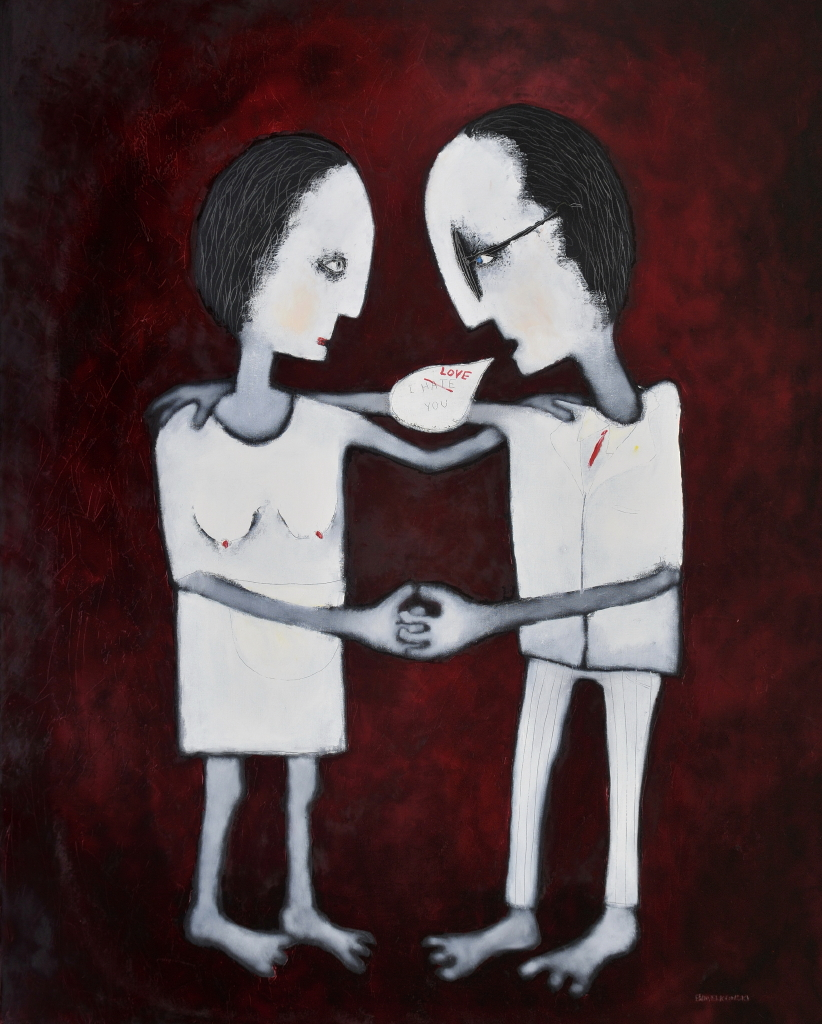 "SOLD Love-Hate, Oil on Canvas, 60"" x 48"""