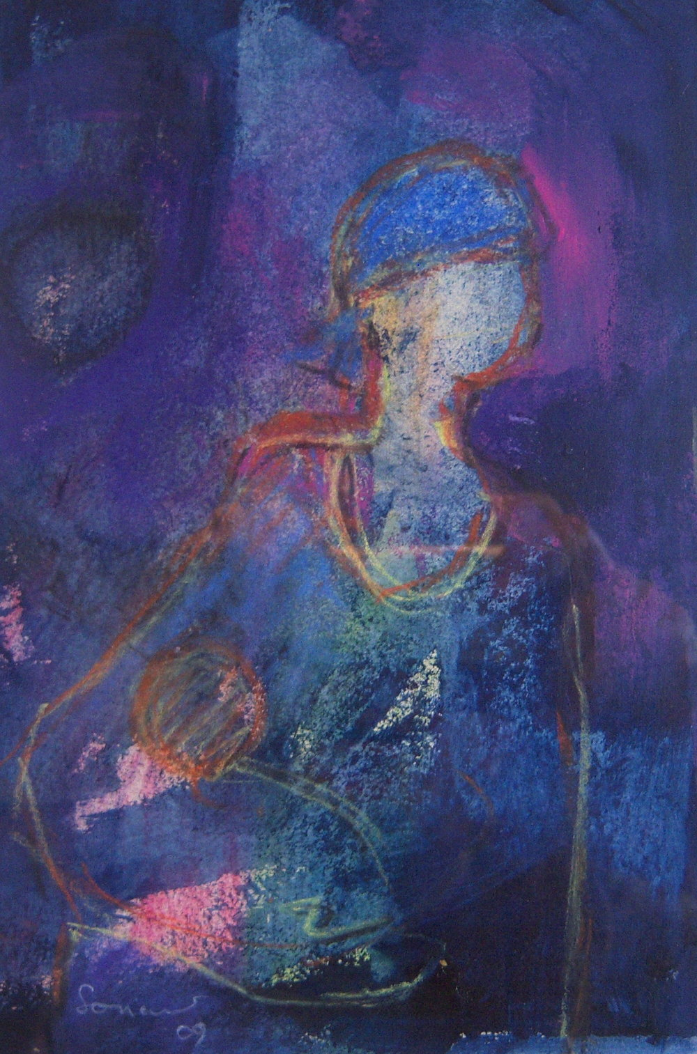 Leon Soriano, Blue Mother, Mixed media on paper