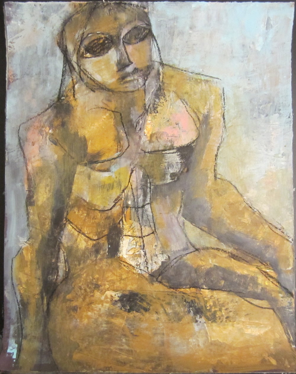 """Copy of Nude, Hand on Stool, 14"""" x 11"""""""
