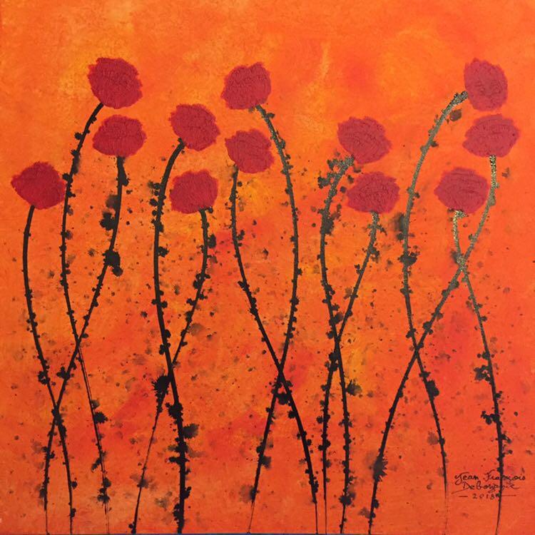 """Flower field, 20"""" x 20"""""""