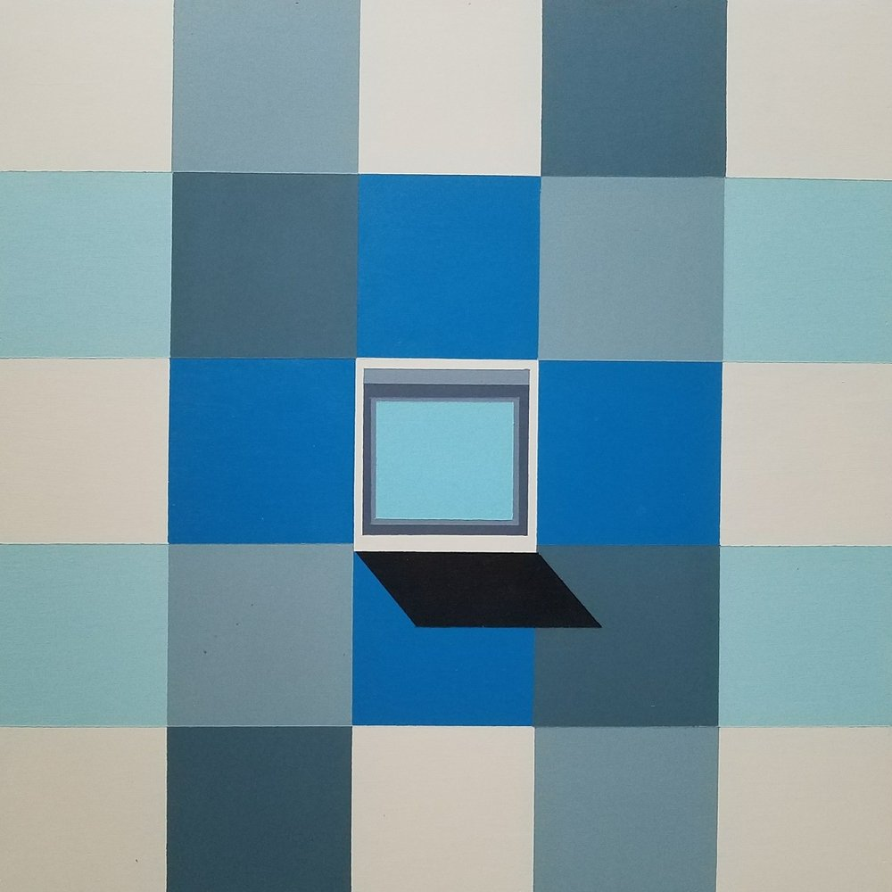 Blue Windows, 41 x 41 cm